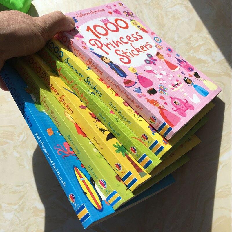 21*15,2 cm los niños 1000 reutilizable de dibujos animados pegatinas/niños bebé animal/dinosaurio/princesa/etiqueta engomada libros para alumnos de las escuelas