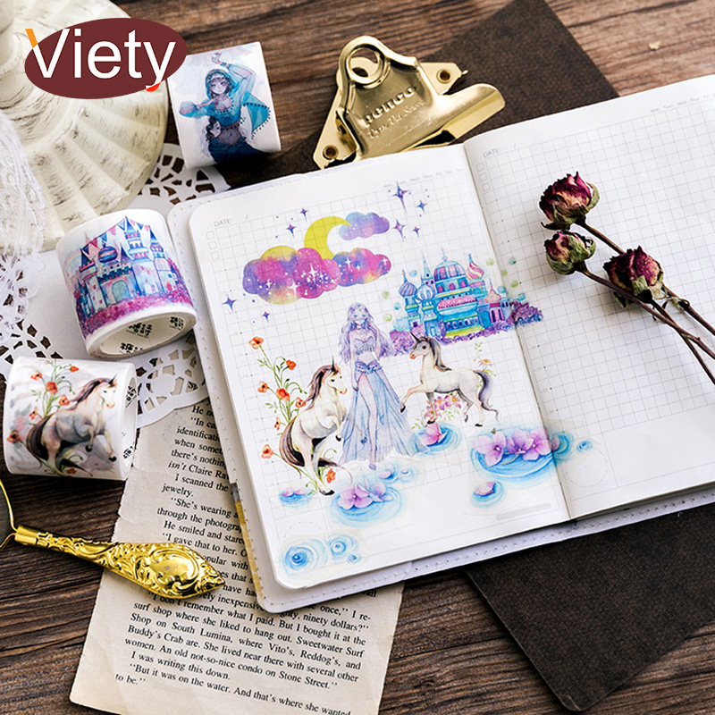 3.5-4cm*5m Beautiful fairy tale horse washi tape DIY decoration scrapbooking planner masking tape adhesive tape label sticker 3 5 4cm 5m beautiful fairy tale horse washi tape diy decoration scrapbooking planner masking tape adhesive tape label sticker