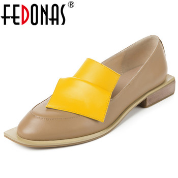 FEDONAS Brand 2020 Fashion Women Round Toe Square Heels Shallow Pumps Mixed Colors Genuine Leather Slip-on Shoes Woman Spring