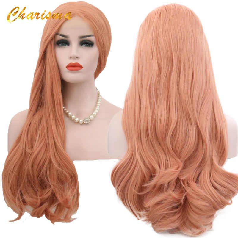 Peluca con malla frontal de carisma, peluca sintética con ondas anaranjadas, peluca con malla frontal de color puro, peluca para mujer