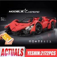 DHL Yeshin 20091 RC Car Compatible With Legoings MOC 10559 Veneno Roadster With Motor Function Set Kids Building Blocks Bricks
