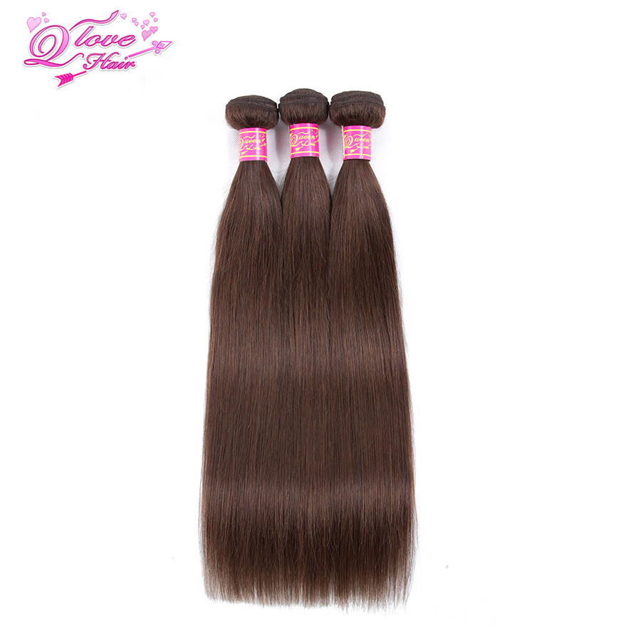 Queen Love Hair Brazilian Ombre Human Hair Weave Bundles Straight Hair Bundles Pre-colored #4 Colorful 3 Pcs Non-remy Hair