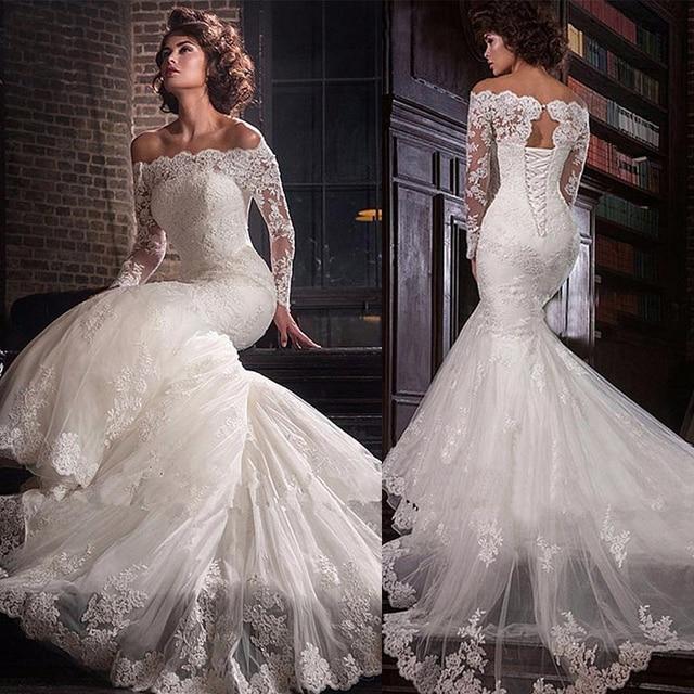 ロマンチックなチュールオフショルダーネックラインマーメイドウェディングドレスレースアップリケプラスサイズブライダルドレス vestidos デノビア