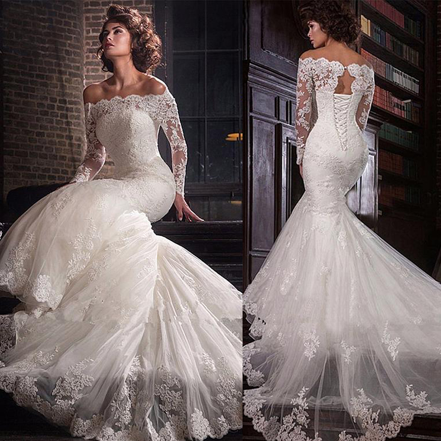 Romantic Tulle Off-the-shoulder Neckline Mermaid Wedding Dress With Lace Appliques Plus Size Bridal Dress Vestidos De Novia