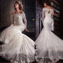 Romantik tül kapalı omuz boyun çizgisi Mermaid düğün elbisesi dantel aplikler ile artı boyutu gelin elbise vestidos de novia