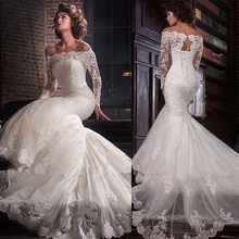 Romantique Tulle Hors la épaule Décolleté Sirène robe de mariage Avec Dentelle Appliques grande taille robe de mariée robes de mariée