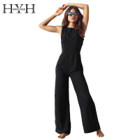 HYH HAOYIHUI Women Jumpsuits Sexy Backless Slim High Waist Wide Leg Sleeveless Crew Neck Romper Streetwear