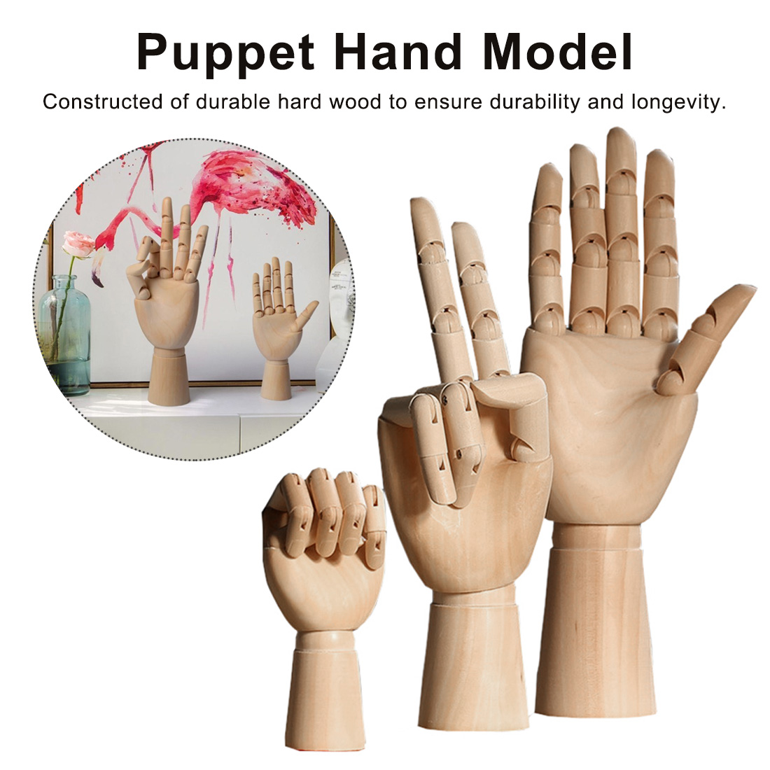 12/10/7 Inches Tall Wooden Hand Drawing Sketch Mannequin Model Wooden Mannequin Hand Movable Limbs Human Artist Model