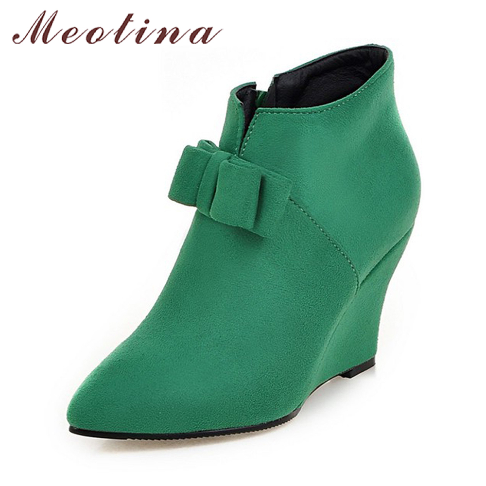 Meotina Women Boots Winter Ankle Boots Wedges High Heels Boots Autumn Bow Ladies Short Shoes Zipper Pink Green Big Size 10 42 43 meotina women ankle boots high heels wedge shoes winter boots lace up zip velvet shoes bling short boots heels large size 33 42