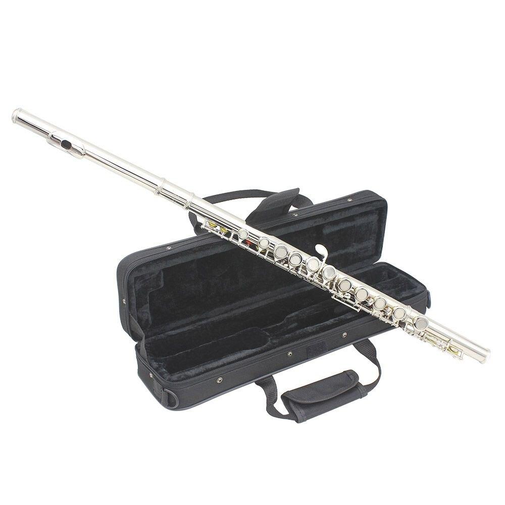 HOT-SLADE Concert Ouest Argent Flûte Plaqué 16-trou Or C Cupro-nickel Instrument à Vent avec Chiffon De Nettoyage Gants Tournevis