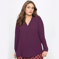 2017 Women Blouses Long Sleeve Pleated Chiffon Blouse Plus Size Women Tops 6XL Big Size Ladies