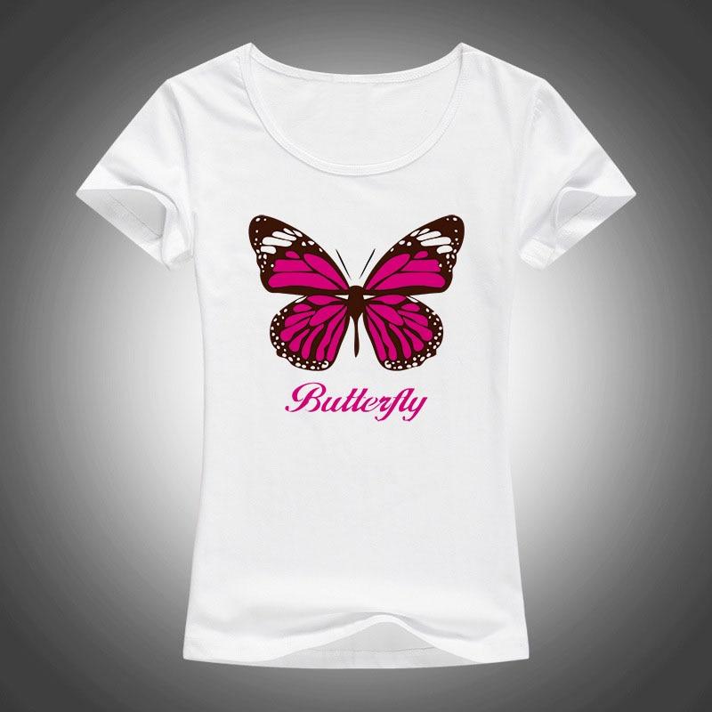 2017 kawaii krásný motýl tištěný tričko dámské topy s krátkým rukávem Camiseta Feminina Casual Tees Shirt Femme F87