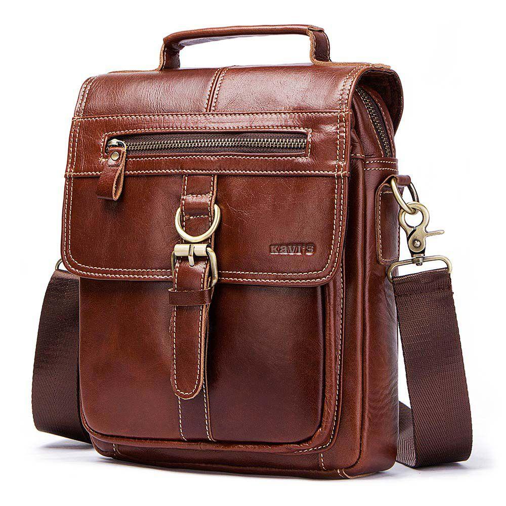 KAVI/'S® 100/% Cowhide Genuine Leather Original Messenger Bag Men Shoulder