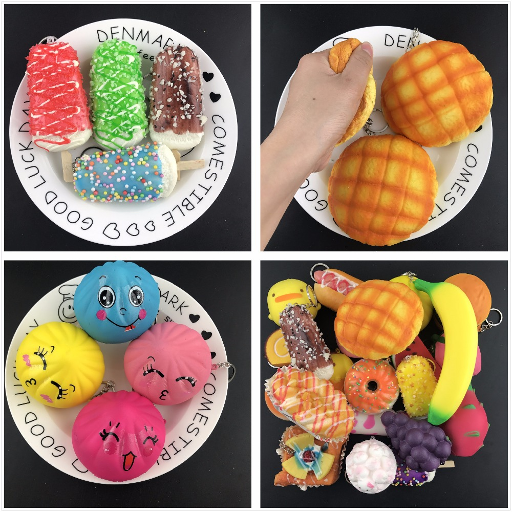 30pcs/lot DHL Free Squishy Slow Rising Fun Cute Feeding Kawaii Milk Bottle Hamburger Kids Toy Present Cell Phone Key Straps