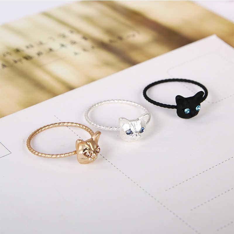 LNRRABC lindo moda Popular dorado/Negro/plata Color aleación mujeres anillo gatito gato tamaño libre diamantes de imitación joyería cóctel anillo
