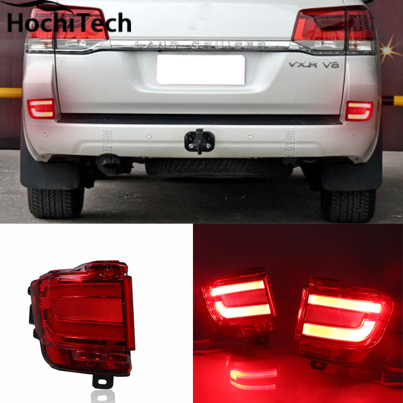 2Pcs/Lot New Car Styling Rear Bumper LED Warning Brake Light For Toyota land cruiser 2016 2017 Auto Parts High quality led rear bumper warning lights car brake light running lamp for toyota land cruiser 2016