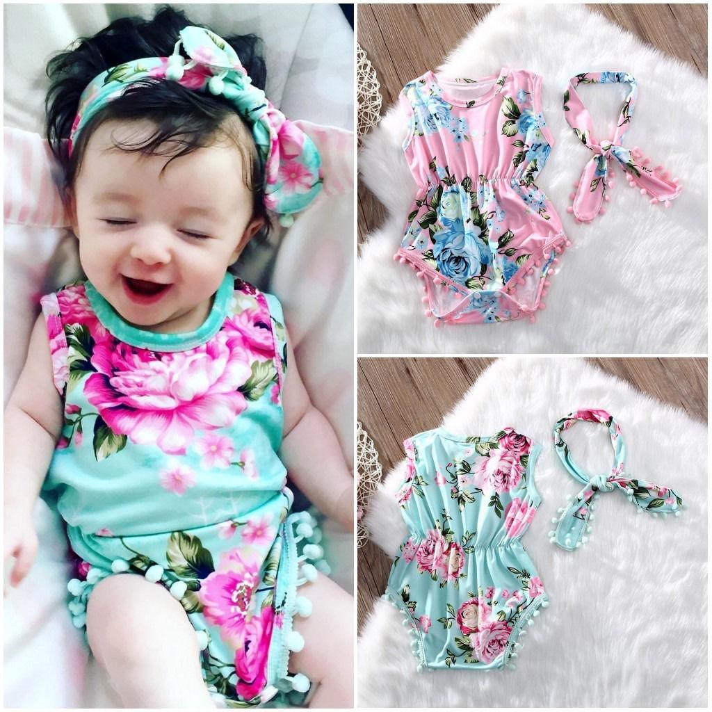Newborn Baby Girls Floral   Romper