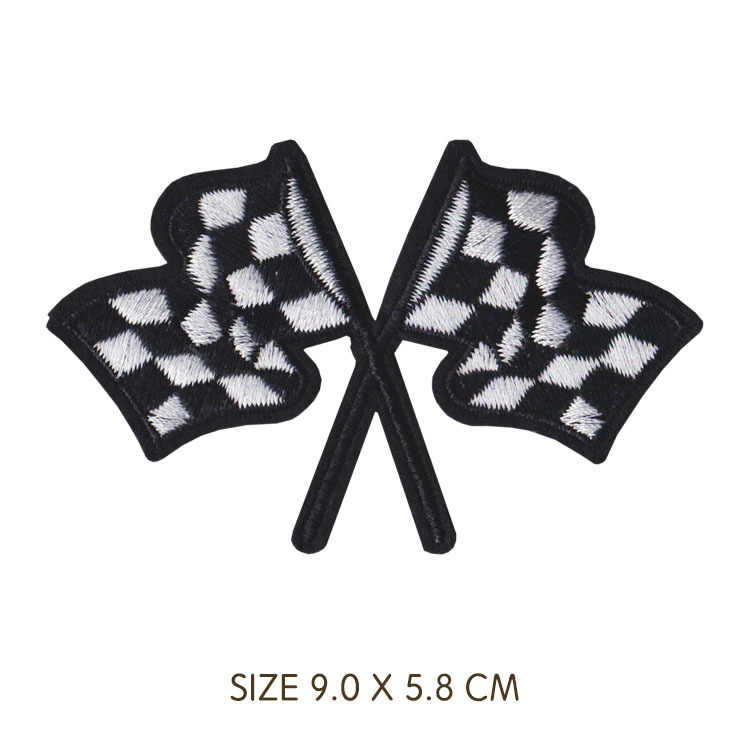 Punk Style Car Race Helmet Locomotive Badge Patch Embroidered Iron Patches for Clothing DIY Kids Clothes Stickers Badges