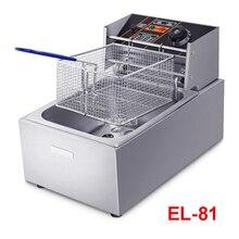 Коммерческий сковородка для жарки EL-81 фритюрница с одним цилиндром и фритюрница с двумя решетками электрическая фритюрница с двумя решетками картошки фри машина 6L большой Ёмкость с Жареный сетки 220V