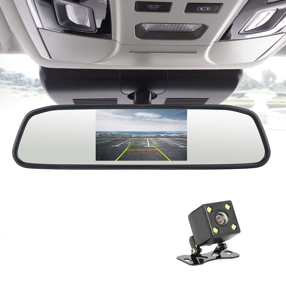 4.3 Car Rear view Mirror Monitor Auto Parking System + LED Night Vision Backup Reverse Camera CCD Car Rear View Camera hot selling ccd camera ntsc system night vision car reverse rear view backup camera for hyundai ix35 camera promotion