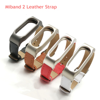 Adjustable for Xiaomi Mi Band 2 Smart Band Leather Strap Wrist Strap Miband 2 Bracelet Stainless Steel Metal Frame and Leather
