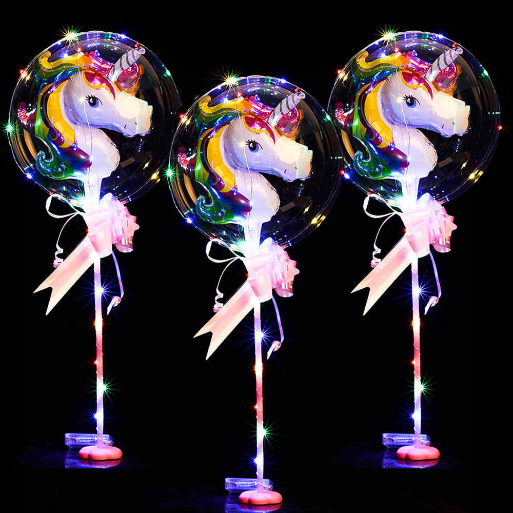 High Quality 10pcs Round Bobo Balloons with 3M Led Strip Wire Luminous Globos Unicorn Foil Wedding Decoration Birthday Party Toy