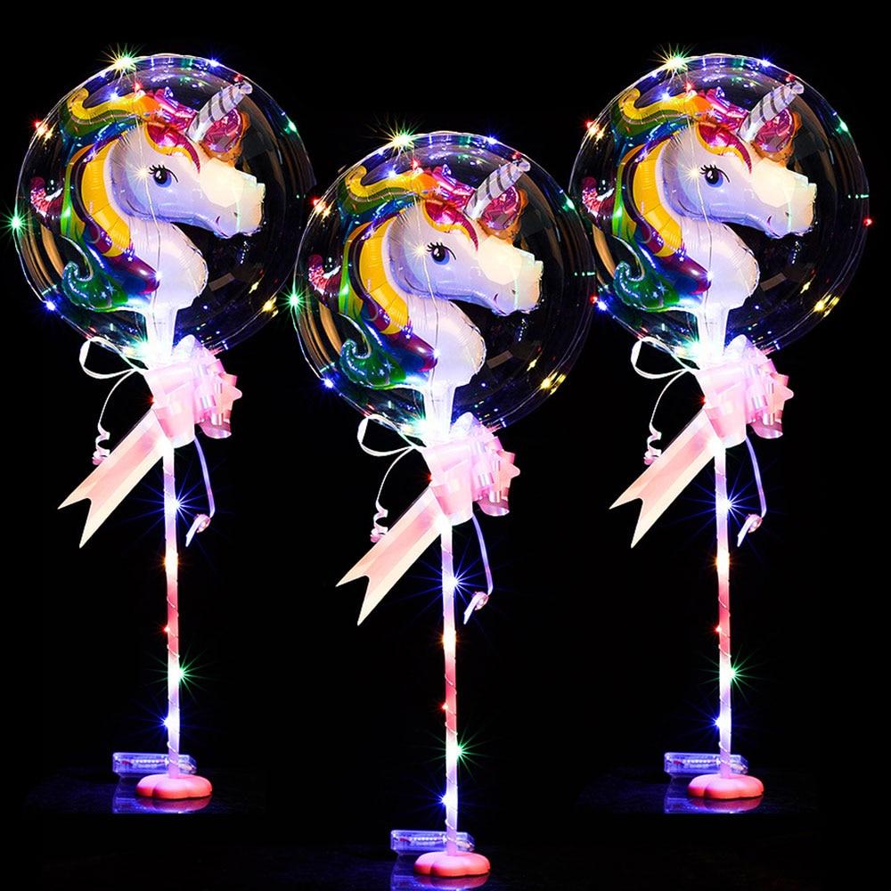 Globos Bobo redondos personalizados con 3M Alambre de tira Led Globos luminosos papel de unicornio decoración de boda fiesta de cumpleaños juguete - 2