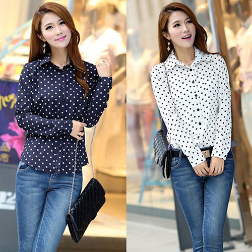 Women Vintage OL Elegant Polka Dots Print Turn Down Chiffon Blouse Long Sleeve Shirt