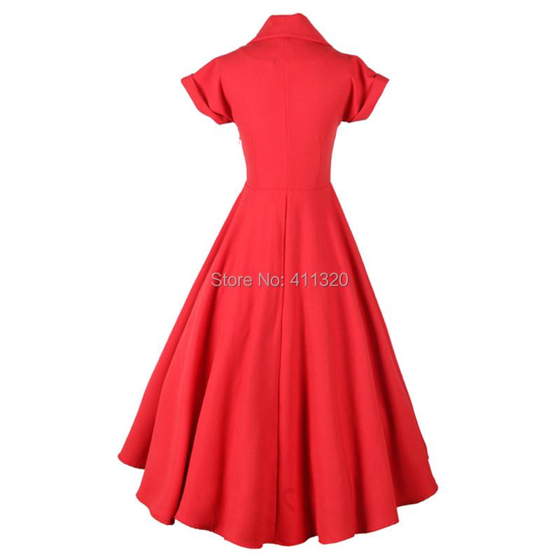 V207 2015 Womens Classic 1950s 60s Celebrity Vintage Retro Style Rockabilly Pin up Swing Summer Red Wedding Party Dresses (3).jpg