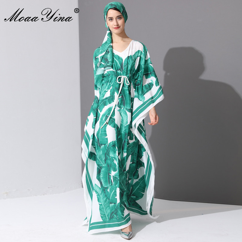 MoaaYina Runway Fashion Designer Maxi Dress Spring Women's Batwing Sleeve Green Palm Leaf Floral Print Loose Casual Long Dress