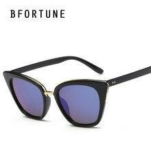 Bfortune cat eye sunglasses mujeres diseñador de la marca de la vendimia espejo retro gafas de sol uv400 oculos femininos mujer gafas