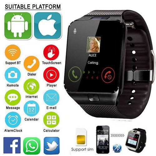 Mens Sports DZ09 Smartwatch Android Phone Call Bluetooth Relógio Inteligente Relogio 2G GSM SIM Câmera Cartão TF para o Telefone PK GT08 A1