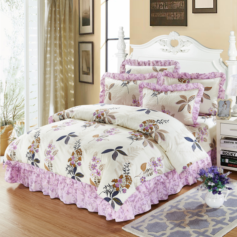 4/6Pcs 100% Cotton Thick Quilted Bedspread set Purple Pink Floarl Bedding sets Queen King size Soft Duvet cover Pillowcases