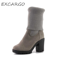 Women S Boots Autumn Winter Boot Solid Color Black Knitted Snow Shoes Woman Boot Autumn Heel