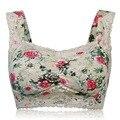 Moda feminina Floral Impressão Sutiã Sem Fio Cueca Sexy Lace Voltar Encerramento Lingerie Confortável Respirável Colete Acolchoado Bras Plus Size
