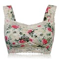 Women Fashion Floral Print Wireless Bra Underwear Sexy Lace Back Closure Comfy Lingerie Breathable Padded Vest Bras Plus Size