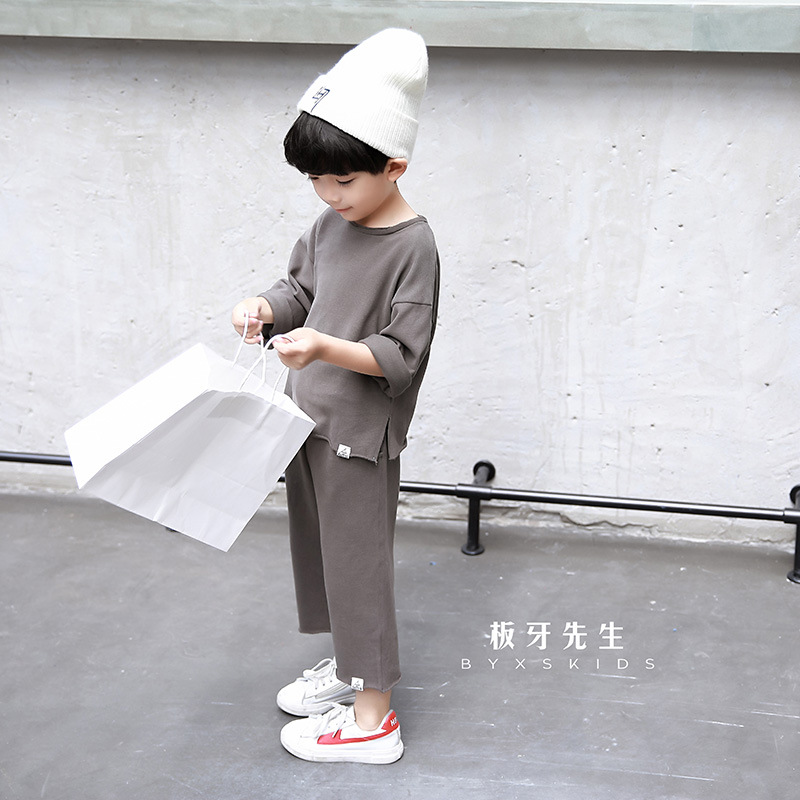 Autumn set 2017 new Korean version of the boys two sets of casual wind solid color leisure suit children's clothing print bar trance