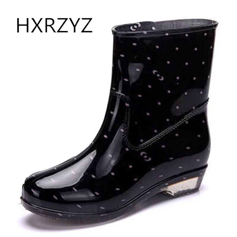 HXRZYZ women rain boots large size ankle boots spring/autumn fashion female slip-resistant waterproof low heeled women's shoes large size spring autumn fashion shoes women rain boots female elastic band slip resistant ankle boots waterproof rubber boots