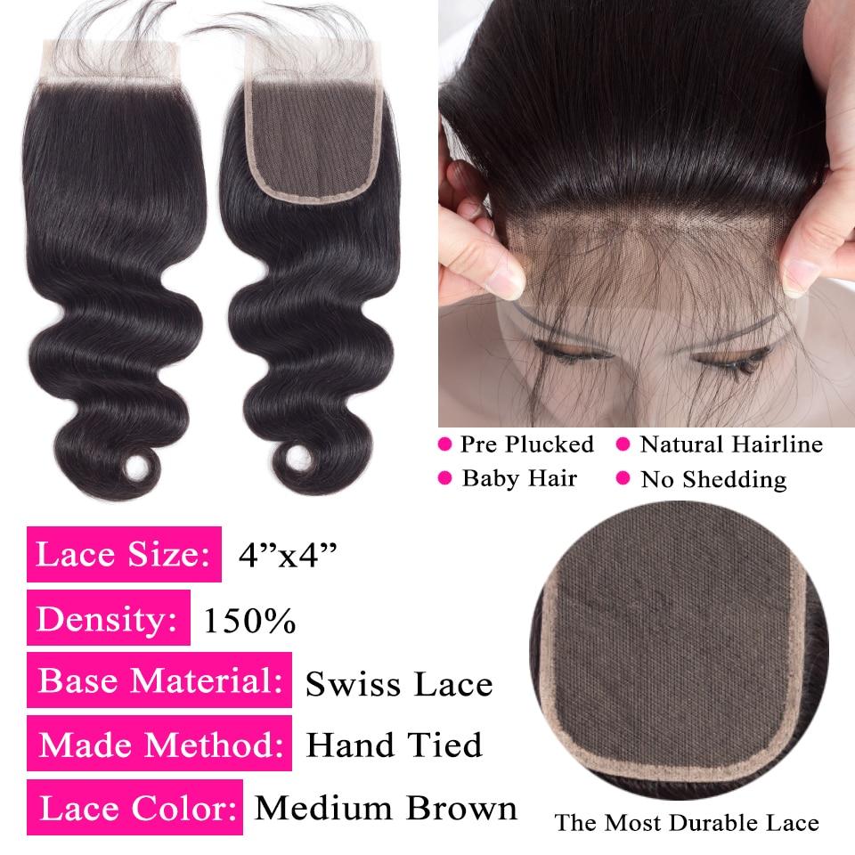 Queen like Hair Products Brazīlijas ķermeņa viļņi ar slēgšanu - Cilvēka mati (melnā krāsā) - Foto 5