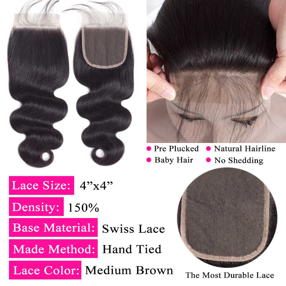 QueenLike Hair Products Brazilian Body Wave With Closure Non Remy Hair Weft Weaving 3 4 Bundles Human Hair Bundles With Closure