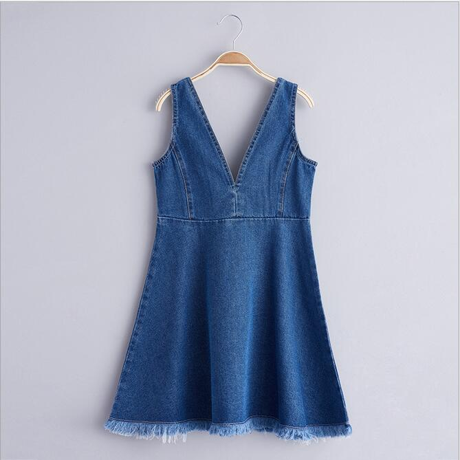 Teenager Denim Tassel Dresses Big baby Girls Wash Blue Fashion Jean Dress 2017 Junior Spring Sleeveless Dress Babies clothing