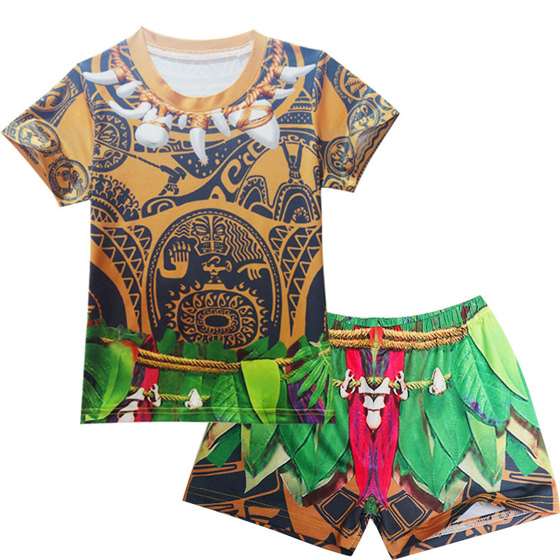 Moana Maui Costume Clothing Casual Boy Set TShirts+Short Pants Outfit Size 5-10