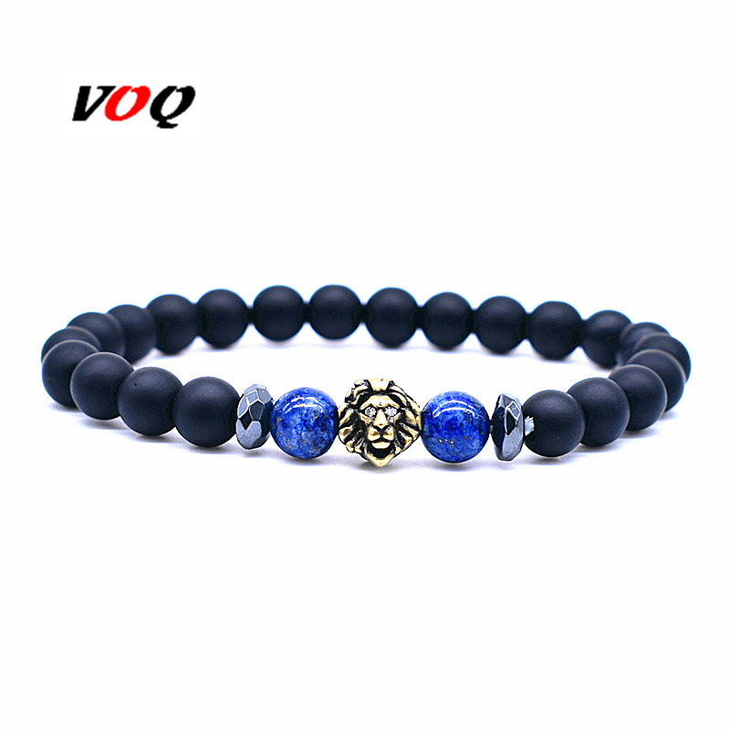 2018 Animal Lion Head Bracelet Hematite Spacer Beads with 8mm Natural Stone Beads Bracelet Men Health Jewelry Pulseira Masculina