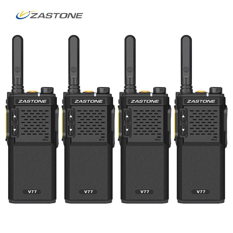 Zastone 4pcs Walkie Talkie V77 Mini UHF 400-470MHz 1500mAh 16CH 3W Portable Ham Radio Amateur Communicator Handy FM Transceiver