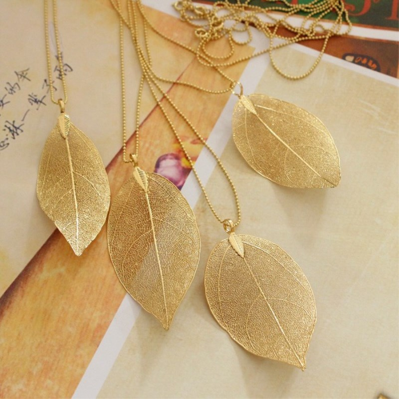 Wholesale Fashion Jewelry Natural Real Leaf Dipped Long