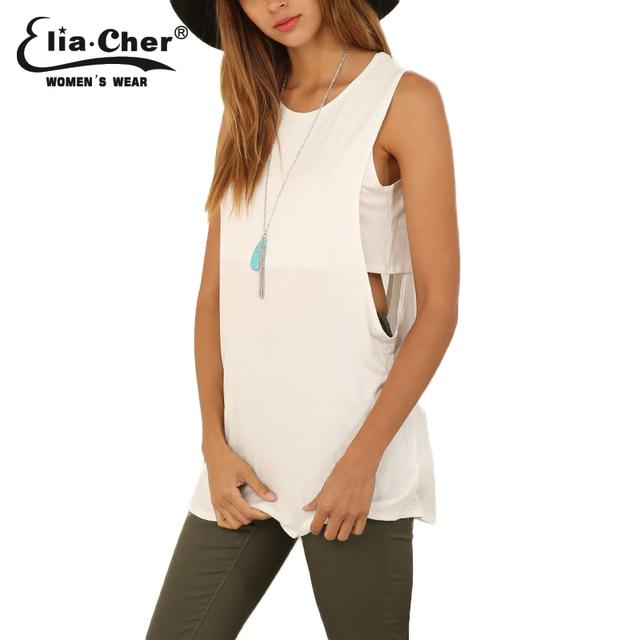 Eliacher mujeres tops de la moda del verano del tanque larga marca más mujeres del tamaño ocasionales clothing chic activo señora tops 6603