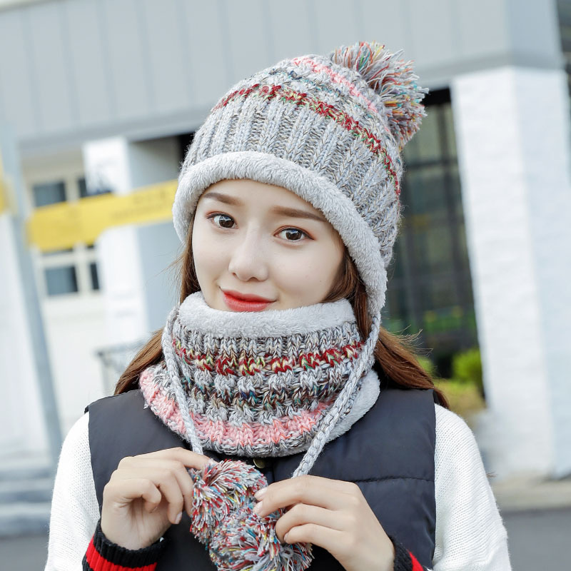 Winter Women Knitted Hat Scarf Female Warm Hat Scarf Set Fashion Wool Thickening Hat Set Casual Snow Caps