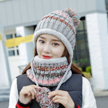 Winter Women Knitted Hat Scarf Female Warm Hat Scarf Set Fashion Wool Thickening Hat Set Casual Snow Caps 2pcs set baby toddler winter set cartoon wool knitting hat scarf warm set infant toddler girls boy knitted keep warm clothes set