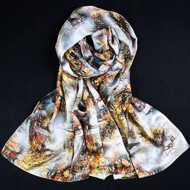 100% Магия Шелка Пашмины Женщины Шелковая Блузка Города 2017 Горячая многоцелевой Пашмины Лучшие Шелковый Платок Wrap Шелковый Шарф Роскошные Леди подарок