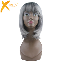 X TRESS Short Silky Straight Ombre Black Roots Blond Regrey None Lace Synthetic Bob Wigs Heat